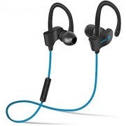 QC10 Bluetooth Headset Stereo Sound Sweat Proof Earphones with Mic and Ear Hook (Blue)