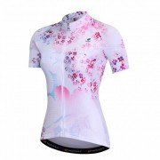 NUCKILY Pink Cherry Blossom Sun Protection Clothing Women Summer Short-sleeved Road Bike Riding Short Jersey
