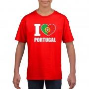 Shoppartners Rood I love Portugal fan shirt kinderen