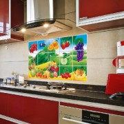 Jaamso Royals fruits and vegetable Kitchen Protection Anti-Mark Oil Proof Easy Clean Plastic Wall Stickers Mosaic Tiles Design Home Decor Aluminum Foil Heat-resistant Oilproof Art