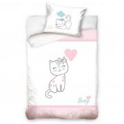 Lenjerie de pat copii, din bumbac, Pisoi, roz, 100 x 135 cm, 40 x 60 cm