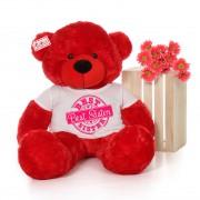 4 feet big red teddy bear wearing Best Sister T-shirt