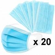 Szájmaszk, orvosi szájmaszk, 3 rétegű, kék színű, 20 db
