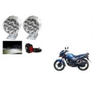 KunjZone 9 LED Small Round Auxiliary Bike Fog Lamp Light Assembly White Set of 2 For Honda CB Unicorn