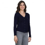 BuyNewTrend Navy Blue Full Sleeve Woolen Sweater For Women