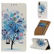 Capa Tipo Carteira Glam Samsung Galaxy A10 - Árvore Florida / Azul