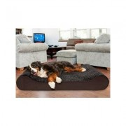 FurHaven Ultra Plush Luxe Lounger Cooling Gel Dog Bed w/Removable Cover, Chocolate, Giant