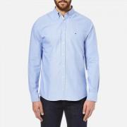 Tommy Hilfiger Men's Plain Oxford Long Sleeve Shirt - Blue - XXL - Blue