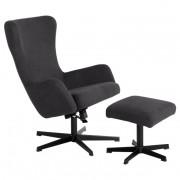 Кресло с табуретка, LEXI, асфалтово сив (3550908)