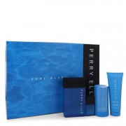 Perry Ellis Pure Blue Eau De Toilette Spray 3.4 oz / 100.55 mL + Shower Gel 3 oz / 88.72 mL + Deodorant Stick 2.75 oz / 81.33 mL