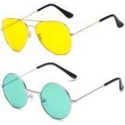 SRPM Aviator, Round Sunglasses(Yellow, Green)