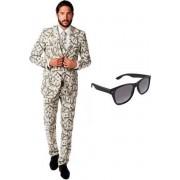 Heren kostuum / pak met dollar print maat 46 (S) - met gratis zonnebril