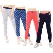 IndiWeaves Women Printed and Solid Cotton Trackpants/Lowers (Pack of 4)