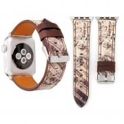 Voor Apple Watch serie 3 & 2 & 1 38mm bruin Retro bloem serie muziek Score patroon Wrist Watch lederen Band