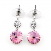 Yiska Swarovski kristályos fülbevaló - Pink