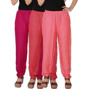 Culture the Dignity Women's Rayon Solid Casual Pants Office Trousers With Side Pockets Combo of 3 - Magenta - Pink - Baby Pink - C_RPT_M1PP2 - Pack of 3 - Free Size