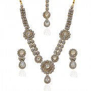 Vivant Charms by JewelMaze White Austrian Stone Gold Plated Zinc Alloy Necklace Set With Maang Tikka -FAH0025