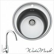 Kevmil KM-52 kör rozsdamentes mosogató + Ferro BAG4 íves csaptelep