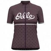 Odlo - Women's Stand-Up Collar S/S Full Zip Element Print - Maillot vélo taille XS, noir