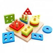 Jucarie Educativa Copii Sortator Forme Geometrice din Lemn Patrat