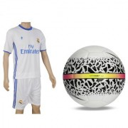 Combo of React Hypervenom White/Black Football (Size-5) with Suit (Jersey + Shorts)