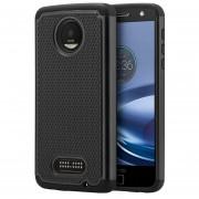 Funda Case para Motorola Moto Z Play Doble Protector de Plástico Super Resistente Uso Rudo -Negro