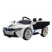 Toy House Hybrid Sports Double Motor Ride On Car for 2 to 5 Years Kids, White