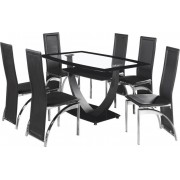 Henley Clear Glass Dining Table with 6 Chairs Set in Black or White - Black