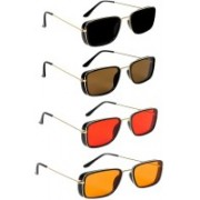 Magjons Retro Square Sunglasses(Black, Brown, Red, Orange)