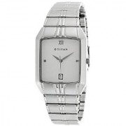 Titan Quartz White Rectangle Men Watch 9264SM01