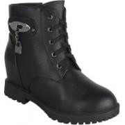 Authentic Vogue Authentic Vogue Womens Classy Black Leather Boot Boots For Women(Black)