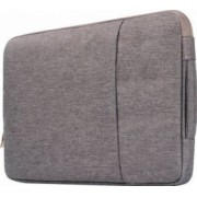Geanta Krasscom pentru laptop macbook 13 inch din material denim cu buzunar exterior si fermoar gri