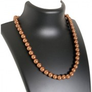 AriaSparkles Royal Fashion Imitation Pearl 10mm Pearl String Strand Moti Mala Women Girls Necklace (Brown)