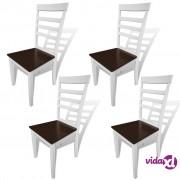 vidaXL Blagovaonske Stolice 4 kom Masivno Drvo Smeđa i Bijela