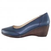Pantofi piele naturala dama - bleumarin, Dogati shoes - toc mediu - 5055-V-Blue