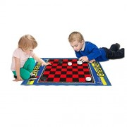 2 Player Life Size Checkers Mat/Board With Big Black & White Checker Pieces