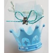 Marturie coroana cu ursulet albastru 6cm