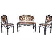 Shilpi Beautiful Hand Carving Living Room Small Sofa Set / Amazing Wrought Iron Wooden Garden Sofa Set For Seating