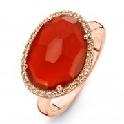 One More 18 Karaats Ros?gouden Stromboli Ring met Rode Agaat en Bruine Diamant