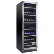 Vitrina de vinuri Nevada Concept NW125D-SSL, 125 sticle, doua zone, negru/otel inoxidabil