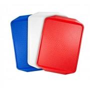 Tálca, műanyag, szögletes, 43x28 cm, fehér (KHMU095)