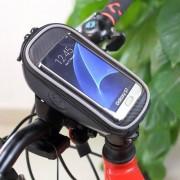 UNIVERZÁLIS biciklis/kerékpáros tartó konzol mobiltelefon készülékekhez - 165 x 80 mm-es bölcső, cseppálló védő tokos kialakítás - FEKETE