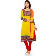Aaina Yellow Red Chiffon Embroidered Dress Material (SB-3293-JAN) (Unstitched)