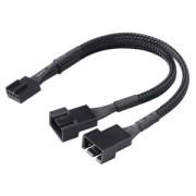 Cablu adaptor Y-Splitter Akasa de la 4-pini PWM la 2x4-pini PWM - 15cm - sleeving culoare neagra