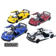 "Set of 4: 5"" 2016 Pagani Huayra BC 1/38 Scale Diecast Model Toy car (Yellow/Blue/White/Red) by Kinsmart"