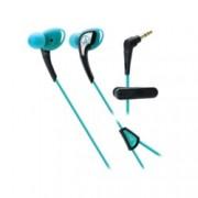 """Слушалки Audio-Technica ATH-SPORT2, тип """"тапи"""", ІРХ5 водоустойчивост, 1.2м асиметричен кабел, сини"""