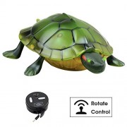 Kids Toy Remote Control Tortoise Simulation Toy Slow Turtle Action Figures Eyes Lighted Animated Animal RC Toys Halloween Christmas Party Gifts For Kids By OffKits (green)
