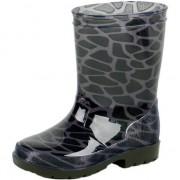 Merkloos Zwart/grijze peuter/kinder regenlaarzen met giraffe vlekken 21 - Regenlaarzen