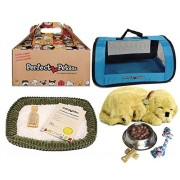 Perfect Petzzz Golden Retriever Plush with Blue Tote For Plush Breathing Pet and Dog Food, Treats, and Chew Toy