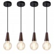 [lux.pro]® Függőlámpa 4-es szett - retró függeszték - 135 cm design mennyezeti lámpa fekete fa hatás
